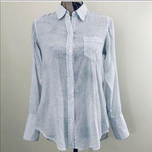 Nili lotan light blue button down shirt small